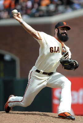 SAN FRANCISCO, CA - AUGUST 7: Brian Wilson #38 of the San Francisco Giants pitches against the Philadelphia Phillies in the ninth inning during an MLB baseball game at AT&T Park August 7, 2011 in San Francisco, California. The Giants won the game 3-1. (Ph