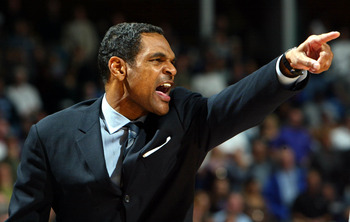 SACRAMENTO, CA -  JANUARY 20:   Head coach Maurice Cheeks of the Portland Trail Blazers yells agaisnt the Sacramento Kings during an NBA game on January 20, 2004 at Arco Arena in Sacramento, California.  NOTE TO USER: User expressly acknowledges and agree