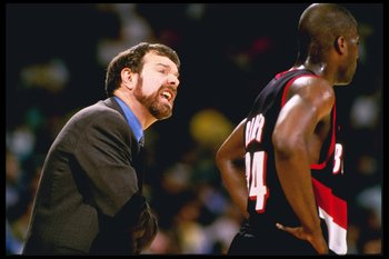 24 Apr 1997:  Head Coach P.J. Carlesimo of the Portland Trailblazers gives instructions to J.R. Rider from the sideline during the Trailblazers 95-77 loss to the Los Angeles Lakers at the Great Western Forum in Inglewood, California. Mandatory Credit: Jed