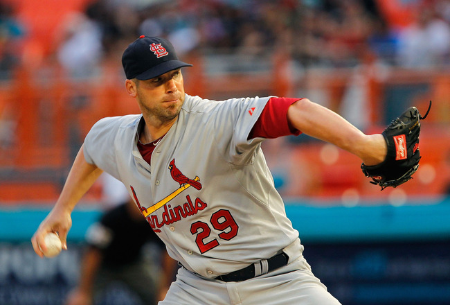 MIAMI GARDENS, FL - AUGUST 06:  Chris Carpenter #29 of the St. Louis Cardinals pitches during a game against the Florida Marlins at Sun Life Stadium on August 6, 2011 in Miami Gardens, Florida.  (Photo by Mike Ehrmann/Getty Images)