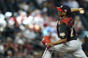 PHOENIX, AZ - JULY 10:  World Future's All-Star Julio Teheran #27 of the Atlanta Braves throws a pitch in the first inning of the 2011 XM All-Star Futures Game at Chase Field on July 10, 2011 in Phoenix, Arizona.  (Photo by Christian Petersen/Getty Images
