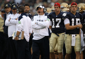 SOUTH BEND, IN - SEPTEMBER 25: Head coach Brian Kelly of the Notre Dame Fighting Irish watches as his team takes on the Stanford Cardinal at Notre Dame Stadium on September 25, 2010 in South Bend, Indiana. Stanford defeated Notre Dame 37-14.  (Photo by Jo