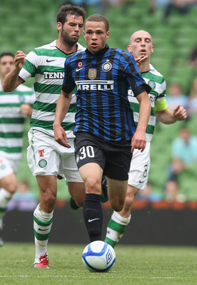 DUBLIN, IRELAND - JULY 30:  Luc Castaignos of Inter Milan runs with the ball during the Dublin Super Cup match between Celtic and Inter Milan at the Aviva Stadium on July 30, 2011 in Dublin, Ireland.  (Photo by David Rogers/Getty Images)