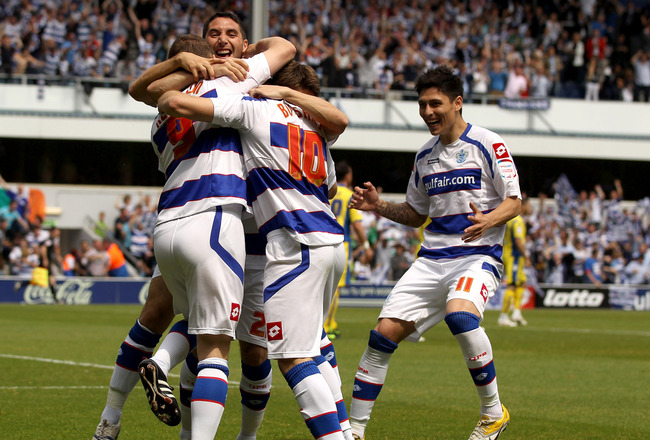 LONDON, ENGLAND - MAY 07:  Heidar Helguson of QPR celebrates scoring the first goal during the npower Championship match between Queens Park Rangers and Leeds United at Loftus Road on May 7, 2011 in London, England.  (Photo by Ian Walton/Getty Images)