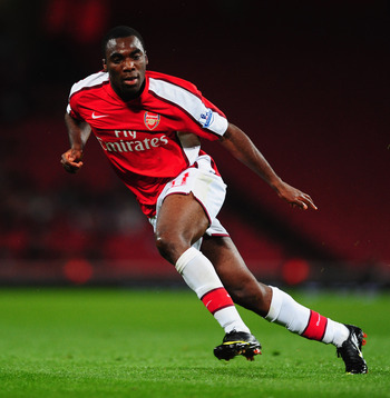 LONDON, ENGLAND - SEPTEMBER 22:  Gilles Sunu of Arsenal in action during the Carling Cup third round match between Arsenal and West Bromwich Albion at Emirates Stadium on September 22, 2009 in London, England.  (Photo by Mike Hewitt/Getty Images)