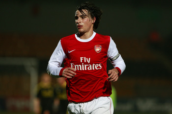 LONDON, ENGLAND - MARCH 16:  Ignasi Miquel of Arsenal looks on during the Barclays Premier Reserve League match between Arsenal and Liverpool at the Underhill Stadium on March 16, 2011 in London, England.  (Photo by Dan Istitene/Getty Images)