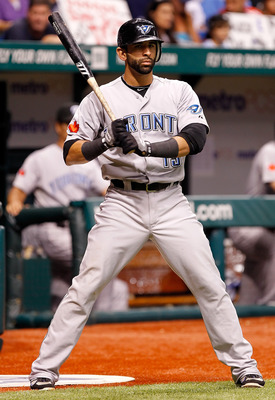 ST. PETERSBURG, FL - AUGUST 03:  Jose Bautista #19 of the Toronto Blue Jays waits to bat against the Tampa Bay Rays during the game at Tropicana Field on August 3, 2011 in St. Petersburg, Florida.  (Photo by J. Meric/Getty Images)