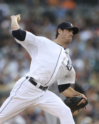 DETROIT, MI - AUGUST 03: Doug Fister #58 of the Detroit Tigers pitches in the fourth inning during the game against the Texas Rangers at Comerica Park on August 3, 2011 in Detroit, Michigan. The Tigers defeated the Rangers 5-4. (Photo by Leon Halip/Getty