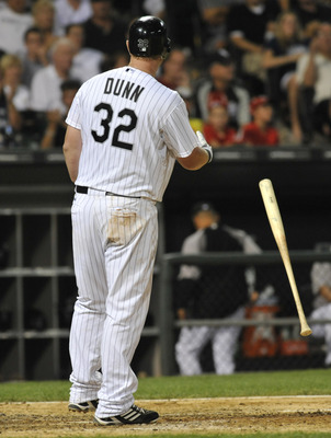 CHICAGO, IL - AUGUST 01:  Adam Dunn #32 of the Chicago White Sox strikes out in the eighth inning against the New York Yankees on August 1, 2011 at U.S. Cellular Field in Chicago, Illinois. The Yankees defeated the White Sox 3-2.  (Photo by David Banks/Ge