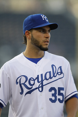 KANSAS CITY, MO - AUGUST 04: Eric Hosmer #35 of the Kansas City Royals tends first base during a game against the Baltimore Orioles at Kauffman Stadium on August 4, 2011 in Kansas City, Missouri. The Kansas City Royals won 9-4. (Photo by Ed Zurga/Getty Im