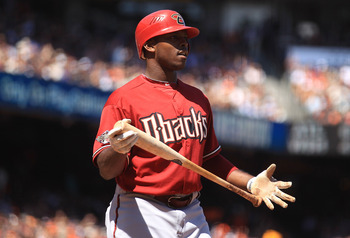 SAN FRANCISCO, CA - AUGUST 03:  Justin Upton #10 of the Arizona Diamondbacks strikes in the seventh inning against the San Francisco Giants at AT&amp;T Park on August 3, 2011 in San Francisco, California.  (Photo by Jed Jacobsohn/Getty Images)
