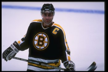 27 Mar 1996: Defenseman Ray Bourque of the Boston Bruins looks on during a game against the Anaheim Mighty Ducks at Arrowhead Pond in Anaheim, California. The Bruins won the game, 3-1.
