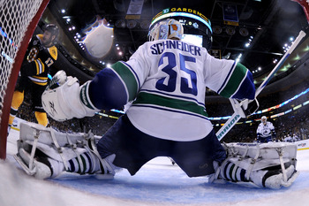BOSTON, MA - JUNE 13:  Cory Schneider #35 of the Vancouver Canucks tends goal against the Boston Bruins during Game Six against the Boston Bruins in the 2011 NHL Stanley Cup Final at TD Garden on June 13, 2011 in Boston, Massachusetts.  (Photo by Elsa/Get