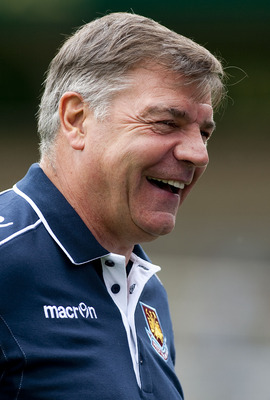 WYCOMBE, ENGLAND - JULY 23: West Ham Manager Sam Allardyce shares a joke prior to the Pre Season Friendly match betwen Wycombe Wanderers and West Ham United, at Adams Parks on July 23, 2011 in Wycombe, England.  (Photo by Ben Hoskins/Getty Images)