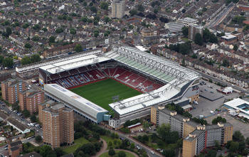 LONDON, ENGLAND - JULY 26:  An aerial view of Upton Park home of West Ham United Football Club on July 26, 2011 in London, England.  (Photo by Tom Shaw/Getty Images)
