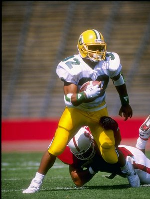 23 Sep 1989:  Running back Derek Loville of the Oregon Ducks runs down the field during a game against the Stanford Cardinal at Stanford Stadium in Stanford, California.  Stanford won the game 18-17. Mandatory Credit: Otto Greule  /Allsport