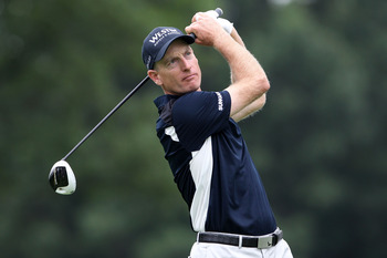 AKRON, OH - AUGUST 04:  Jim Furyk hits his tee shot on the third hole during the first round of the World Golf Championships-Bridgestone Invitational on the South Course at Firestone Country Club on August 4, 2011 in Akron, Ohio.  (Photo by Andy Lyons/Get