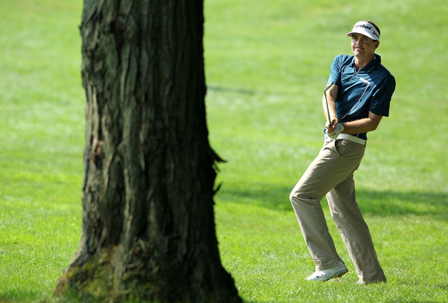 AKRON, OH - AUGUST 06:  Keegan Bradley watches his second shot on the ninth hole during the third round of the World Golf Championships-Bridgestone Invitational on the South Course at Firestone Country Club on August 6, 2011 in Akron, Ohio.  (Photo by And