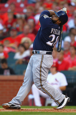 ST. LOUIS, MO - AUGUST 10: Prince Fielder #28 of the Milwaukee Brewers hits a sacrifice RBI against the St. Louis Cardinals at Busch Stadium on August 10, 2011 in St. Louis, Missouri.  (Photo by Dilip Vishwanat/Getty Images)