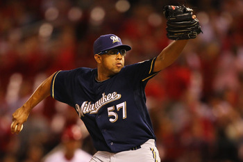 ST. LOUIS, MO - AUGUST 10: Francisco Rodriguez #57 of the Milwaukee Brewers pitches against the St. Louis Cardinals at Busch Stadium on August 10, 2011 in St. Louis, Missouri.  The Brewers beat the Cardinals 5-1.  (Photo by Dilip Vishwanat/Getty Images)