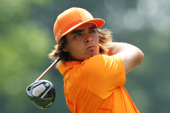 AKRON, OH - AUGUST 07:  Rickie Fowler hits his tee shot on the third hole during the final round of the World Golf Championships-Bridgestone Invitational on the South Course at Firestone Country Club on August 7, 2011 in Akron, Ohio.  (Photo by Andy Lyons