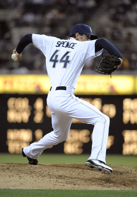 SAN DIEGO, CA - JUNE 24: Josh Spence #44 of the San Diego Padres pitches during the ninth inning of a baseball game against the Atlanta Braves at Petco Park on June 24, 2011 in San Diego, California. The Padres won 11-2.  (Photo by Denis Poroy/Getty Image