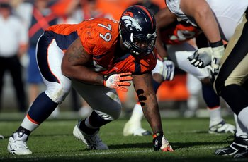 DENVER - SEPTEMBER 21:  Defensive tackle Marcus Thomas #79 of the Denver Broncos is poised at the line of scrimmage as he defends against the New Orleans Saints during NFL action at Invesco Field at Mile High on September 21, 2008 in Denver, Colorado. The
