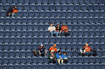 DENVER - DECEMBER 26:  Fans begin to occupy the empty seats prior to the game as the Denver Broncos host the Houston Texas at INVESCO Field at Mile High on December 26, 2010 in Denver, Colorado. The Broncos defeated the Texans 24-23.  (Photo by Doug Pensi