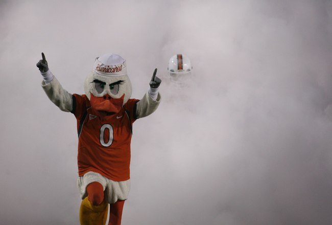 MIAMI - OCTOBER 14:  The Miami Hurricanes mascot Sebastian The Ibis runs on the field before the game against the Florida International Panthers at the Orange Bowl on October 14, 2006 in Miami, Florida. Miami won 35-0.  (Photo by Marc Serota/Getty Images)