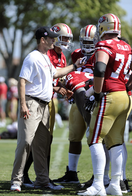 SANTA CLARA, CA - JULY 30: Head coach Jim Harbaugh of the San Francisco 49ers gives a play to his offense during practice at the San Francisco 49ers training facility on July 30, 2011 in Santa Clara, California. (Photo by Thearon W. Henderson/Getty Images