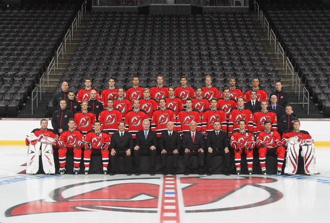 NEWARK, NJ - APRIL 03:  The New Jersey Devils pose for their official team photograph on April 3, 2011 in Newark, New Jersey. (Photo by Bruce Bennett/Getty Images)