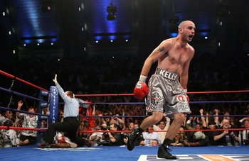 ATLANTIC CITY, NJ - SEPTEMBER 29:  Kelly Pavlik celebrates his victory over Jermain Taylor as the referee calls off the bout during their WBC & WBO World Middleweight Championship fight at Boardwalk Hall on September 29, 2007 in Atlantic City, New Jersey.