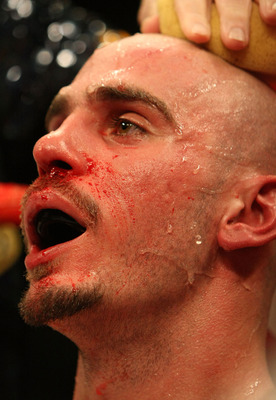 LAS VEGAS - FEBRUARY 16:  Kelly Pavlik sits in his corner against Jermain Taylor during their middlleweight fight at the MGM Grand Garden Arena on February 16, 2008 in Las Vegas, Nevada.  (Photo by Jed Jacobsohn/Getty Images)