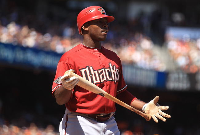 SAN FRANCISCO, CA - AUGUST 03:  Justin Upton #10 of the Arizona Diamondbacks strikes in the seventh inning against the San Francisco Giants at AT&T Park on August 3, 2011 in San Francisco, California.  (Photo by Jed Jacobsohn/Getty Images)
