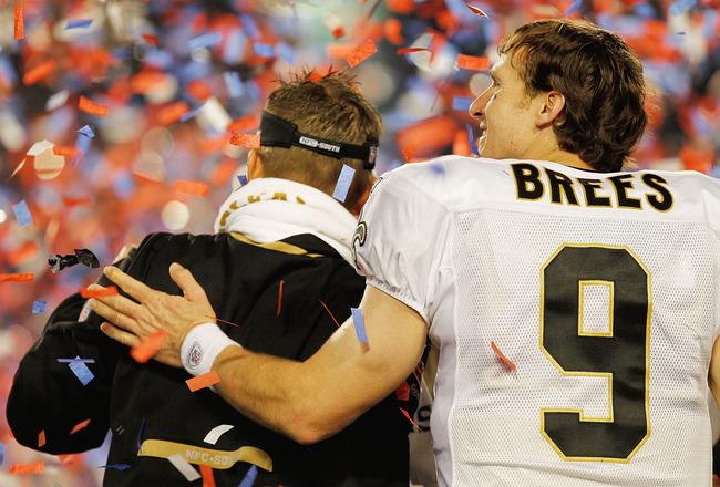 MIAMI GARDENS, FL - FEBRUARY 07: Drew Brees #9 of the New Orleans Saints hugs head coach Sean Payton after defeating the Indianapolis Colts during Super Bowl XLIV on February 7, 2010 at Sun Life Stadium in Miami Gardens, Florida.  (Photo by Jonathan Danie