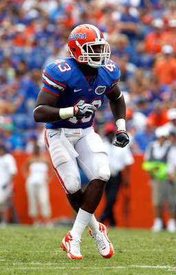 GAINESVILLE, FL - SEPTEMBER 04:  Jelani Jenkins #43 of the Florida Gators plays defense against the Miami University RedHawks at Ben Hill Griffin Stadium on September 4, 2010 in Gainesville, Florida.  (Photo by Sam Greenwood/Getty Images)
