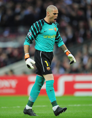 LONDON, ENGLAND - MAY 28:  Victor Valdes of FC Barcelona celebrates as teammate Lionel Messi scores his teams second goal during the UEFA Champions League final between FC Barcelona and Manchester United FC at Wembley Stadium on May 28, 2011 in London, En
