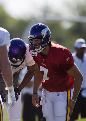 MANKATO, MN - AUGUST 4:  Christian Ponder #7 (R) of the Minnesota Vikings speaks to his teammates during training camp at Minnesota State University on August 4, 2011 in Mankato, Minnesota. (Photo by Hannah Foslien/Getty Images)