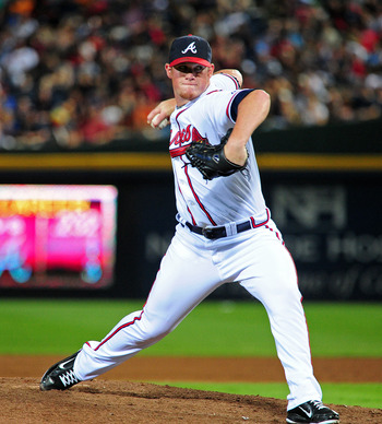 ATLANTA - JULY 27: Craig Kimbrel #46 of the Atlanta Braves pitches against the Pittsburgh Pirates at Turner Field on July 27, 2011 in Atlanta, Georgia. (Photo by Scott Cunningham/Getty Images)