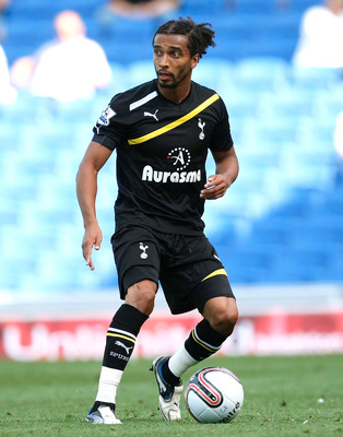 BRIGHTON, ENGLAND - JULY 30: Benoit Assou-Ekotto of Tottenham Hotspur in action during the Pre Season Friendly match between Brighton & Hove Albion and Tottenham Hotspur at Amex Stadium on July 30, 2011 in Brighton, United Kingdom. (Photo by Tom Dulat/Get