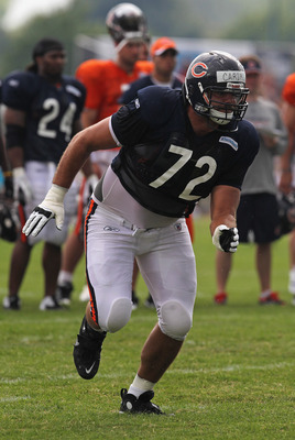 BOURBONNAIS, IL - AUGUST 06: Gabe Carimi #72 of the Chicago Bears rolls out to block during a summer training camp practice at Olivet Nazarene University on August 6, 2011 in Bourbonnais, Illinois. (Photo by Jonathan Daniel/Getty Images)