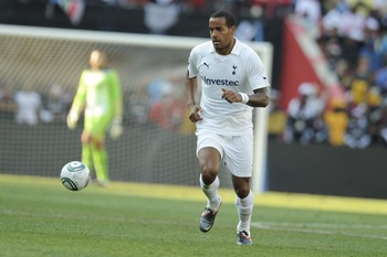 JOHANNESBURG, SOUTH AFRICA - JULY 23:  Tom Huddlestone of Tottenham in action during the 2011 Vodacom Challenge final match between Orlando Pirates and Tottenham Hotspur at Coca Cola Stadium on July 23, 2011 in Johannesburg, South Africa.  (Photo by Lefty
