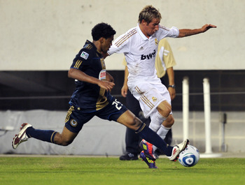 PHILADELPHIA, PA - JULY 23: Sheanon Williams #25 of the Philadelphia Union defends against Fabio Coentrao #15 of Real Madrid at Lincoln Financial Field on July 23, 2011 in Philadelphia, Pennsylvania. Real Madrid won 2-1. (Photo by Drew Hallowell/Getty Ima