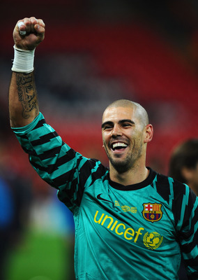 LONDON, ENGLAND - MAY 28:  Victor Valdes of FC Barcelona celebrates after the UEFA Champions League final between FC Barcelona and Manchester United FC at Wembley Stadium on May 28, 2011 in London, England.  (Photo by Clive Mason/Getty Images)
