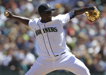 SEATTLE - JULY 30:  Starting pitcher Michael Pineda #36 of the Seattle Mariners pitches against the Tampa Bay Rays at Safeco Field on July 30, 2011 in Seattle, Washington. Pineda took a no-hitter into the sixth inning, as the Mariners defeated the Rays 3-