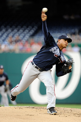 WASHINGTON, DC - AUGUST 01:  Jair Jurrjens #49 of the Atlanta Braves pitches against the Washington Nationals at Nationals Park on August 1, 2011 in Washington, DC.  (Photo by Greg Fiume/Getty Images)