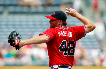 ATLANTA, GA - JULY 31:  Tommy Hanson #48 of the Atlanta Braves pitches to the Florida Marlins at Turner Field on July 31, 2011 in Atlanta, Georgia.  (Photo by Kevin C. Cox/Getty Images)