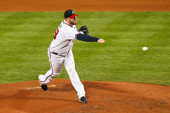 ATLANTA - OCTOBER 11:  Pitcher Peter Moylan #58 of the Atlanta Braves against the San Francisco Giants during Game Four of the NLDS of the 2010 MLB Playoffs at Turner Field on October 11, 2010 in Atlanta, Georgia.  (Photo by Kevin C. Cox/Getty Images)