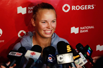 TORONTO, ON - AUGUST 08: Caroline Wozniacki of Denmark, talks to the media at the WTA All-Access Hour at the Rogers Cup presented by National Bank at the Rexall Centre on August 8, 2011 in Toronto, Ontario, Canada.  (Photo by Chris Trotman/Getty Images)