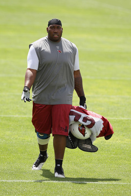 FLAGSTAFF, AZ - AUGUST 04:  Tackle Brandon Keith #72 of the Arizona Cardinals arrives to practice during the team training camp at Northern Arizona University on August 4, 2011 in Flagstaff, Arizona.  (Photo by Christian Petersen/Getty Images)
